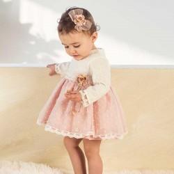 vestido bebe bas marti de plumeti rosa y blanco