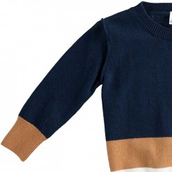 detallle manga jersey niño azul marino y camel de ido