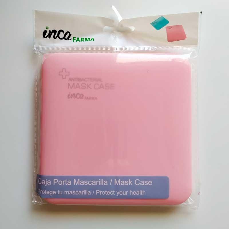 caja porta mascarilla antibacteriana rosa