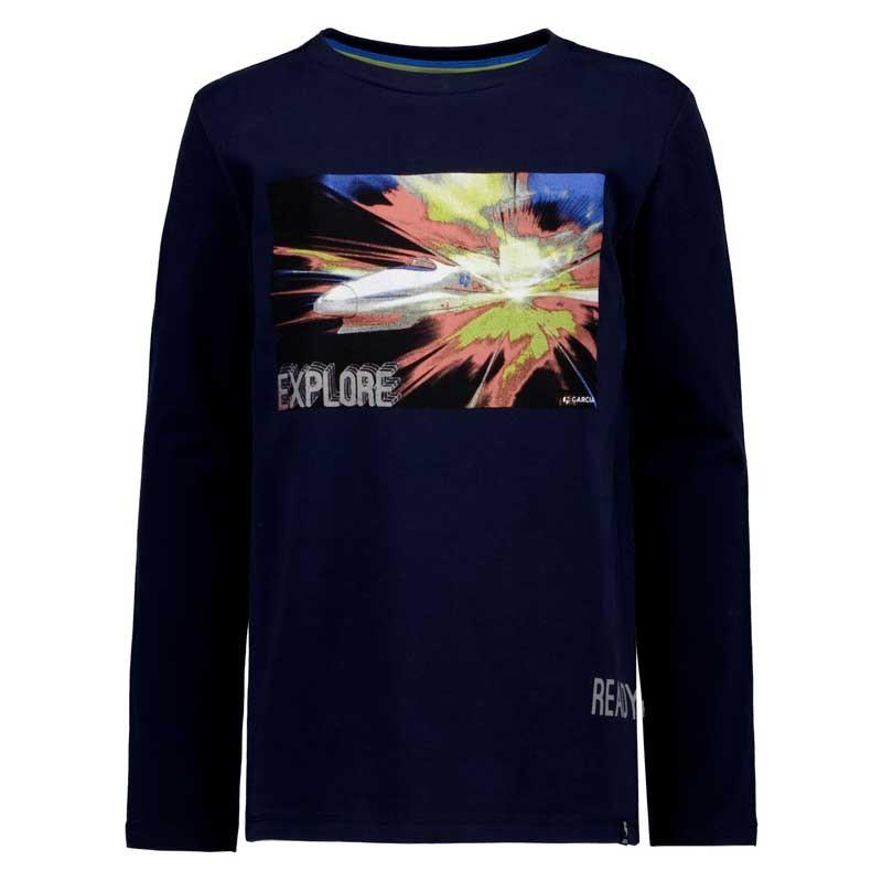 camiseta niño manga larga de garcia jeans azul marino de cohete
