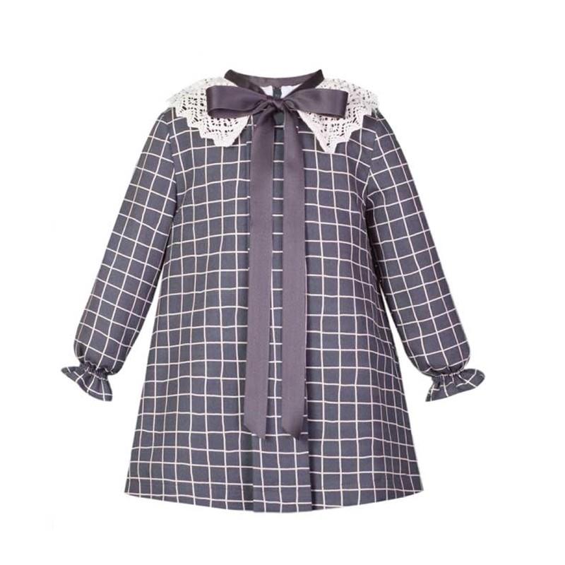 vestido niña invierno de eve children gris a cuadros
