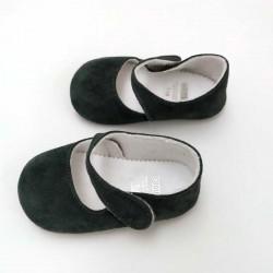 zapatos bebe merceditas de cuquito gris antracita