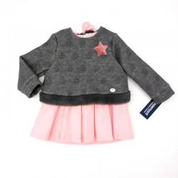 vestido bebe invierno de bas marti gris y rosa