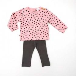 conjunto bebe invierno de boboli rosa y gris a motas