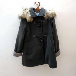 abrigo paño niña bbz gris y pelo desmontable