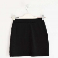 falda niña invierno negra de punto y polipiel ido