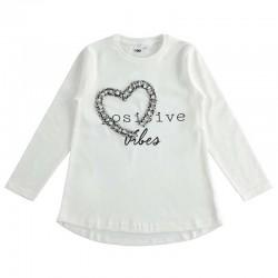 camiseta niña manga larga ido blanca y corazon negro