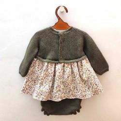 vestido bebe punto solita de invierno verde y flores