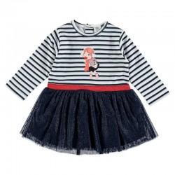 vestido niña bimbalu marino con tul y rayas