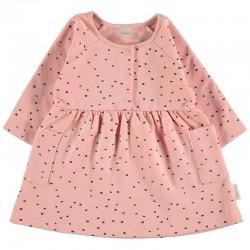 vestido bebe invierno de petit oh rosa y gris