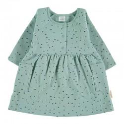 vestido bebe invierno de petit oh verde agua con puntos gris