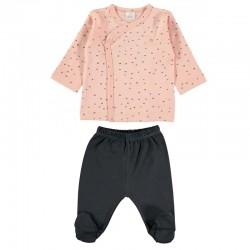 conjunto primera puesta bebe rosa y gris de petit oh