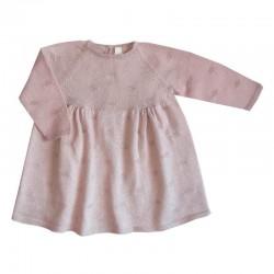 vestido punto bebe rosa de leandme