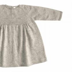 vestido punto bebe de leandme color piedra