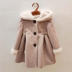 abrigo niña de piel vuelta rosa bbz
