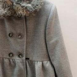 abrigo paño niña gris de bbz con pelo desmontable
