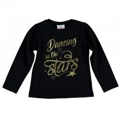 camiseta niña manga larga negra y dorada bimbalina