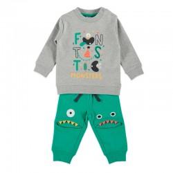 chandal felpa bebe bimbalu verde y gris