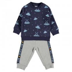 chandal felpa bebe niño azul y gris planetas