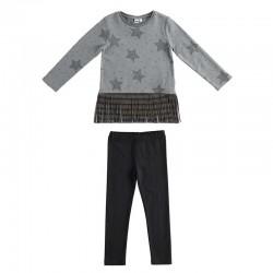 conjunto niña ido camiseta y leggins gris con estrellas