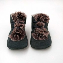 zapatos bebe botas de piel vuelta grises con pelo