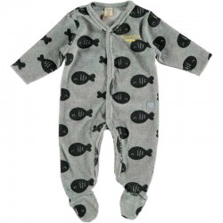 pelele terciopelo bebe gris de peces cotton fish