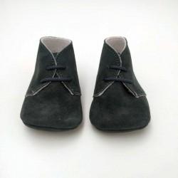zapatos bebe cuquito piel vuelta gris antracita
