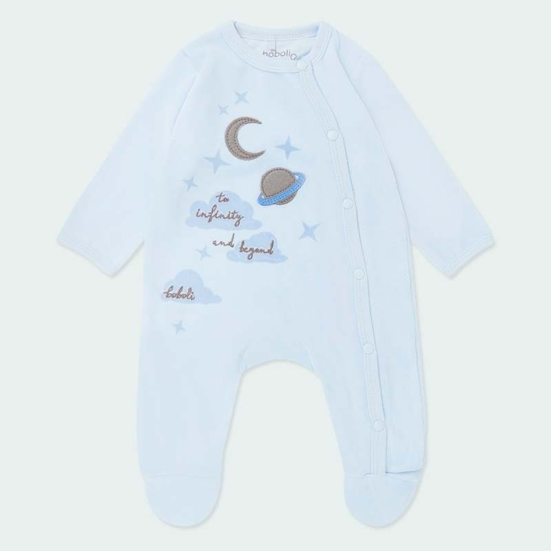 pelele bebe terciopelo azul de planetas