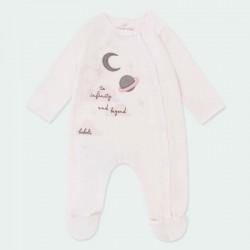 pelele bebe terciopelo rosa de planetas boboli