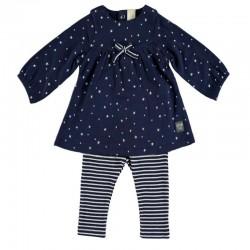 vestido bebe con leggins de invierno cotton fish azul marino