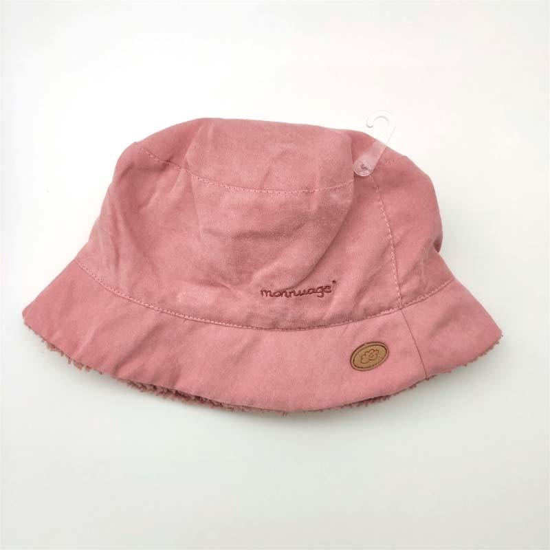 gorro rosa pescador con borreguito para niños