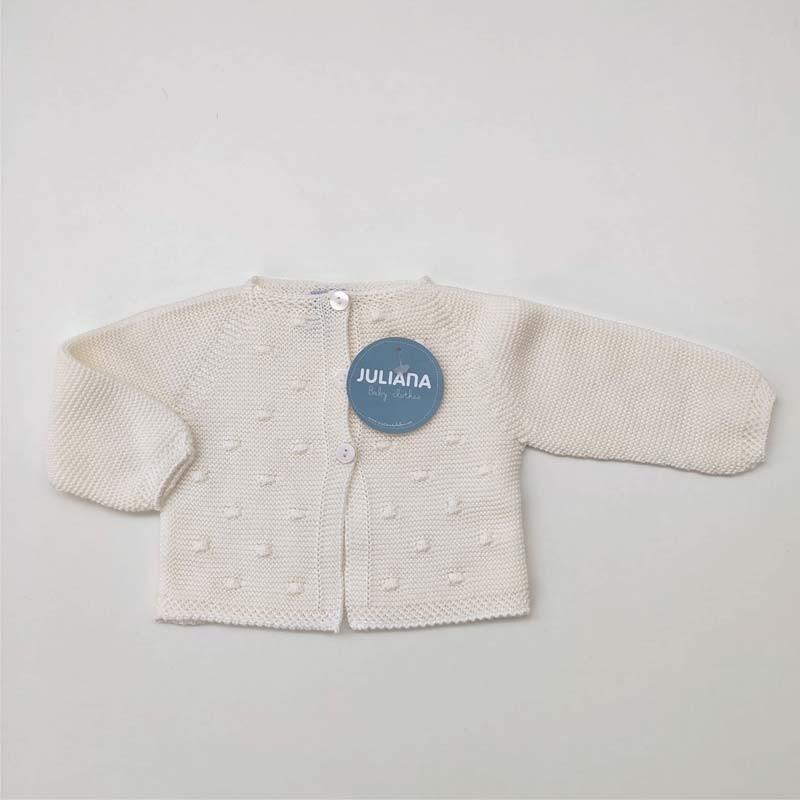 chaqueta punto bebe cruda de juliana con bodoques