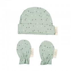 conjunto nacimiento bebe manoplas y gorro verde y gris de bimbidreams