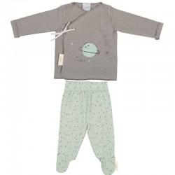 jubon y polaina nacimiento bebe verde y gris de bimbidreams