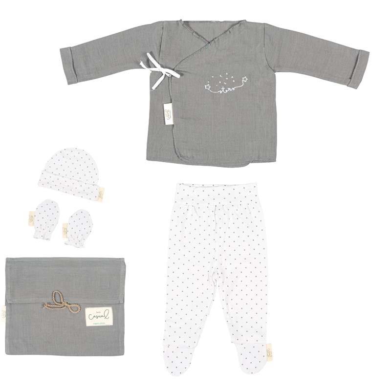 conjunto ropa nacimiento bebe de gasa gris bimbidreams