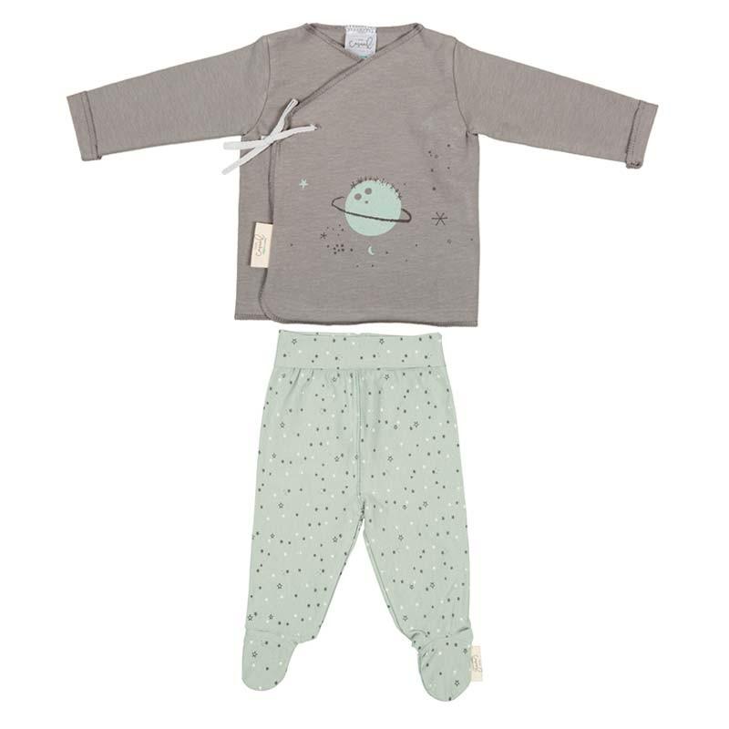 jubon y polaina bebe verde y gris de bimbidreams