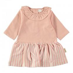 vestido franela bebe rosa y rayas de petit oh