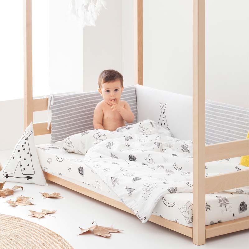 cama montesori con funda nordica maxicuna bebe indian de bimbidreams