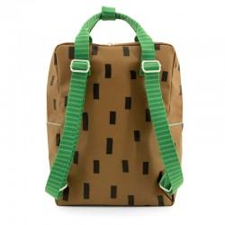 mochila grande sticky lemon marron y verde con formas trasera