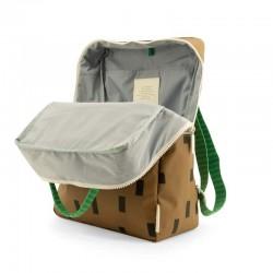 mochila grande sticky lemon marron y verde con formas interior