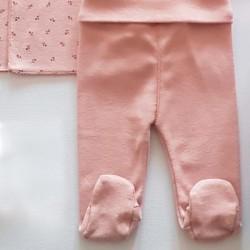 polaina conjunto primera puesta bebe niña rosa de lillymom