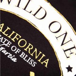 estampado camiseta niña garcia jeans negra y dorada