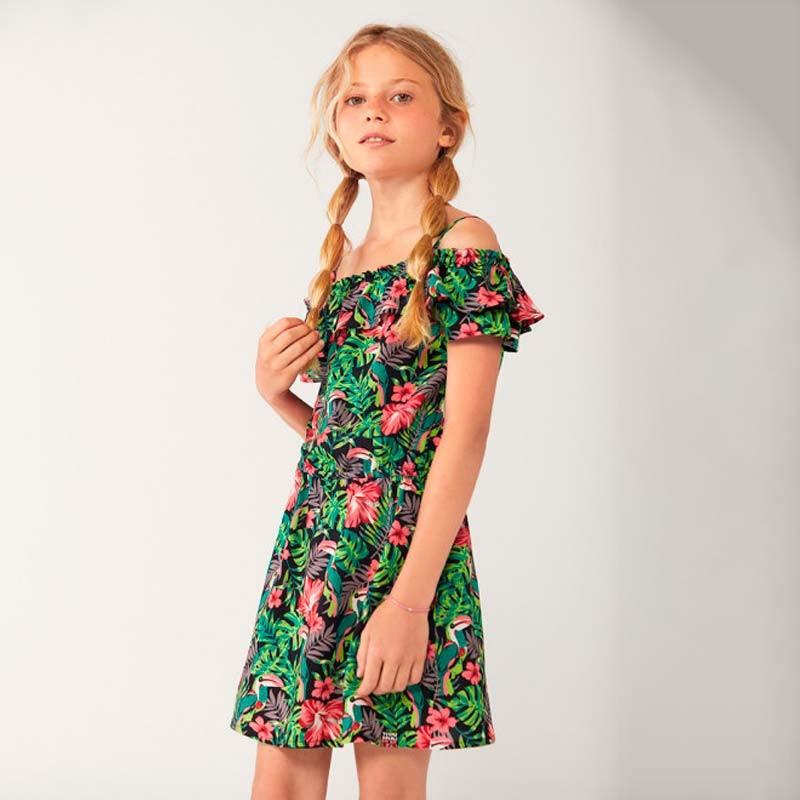 look vestido niña verano de boboli estampado de flores rosa