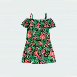 vestido niña verano de boboli estampado de flores rosa