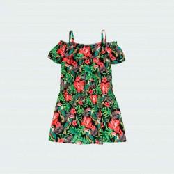 vestido niña verano de boboli estampado de flores rosa de espaldas