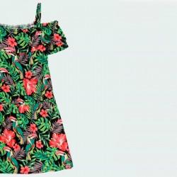 detalle vestido niña verano de boboli estampado de flores rosa