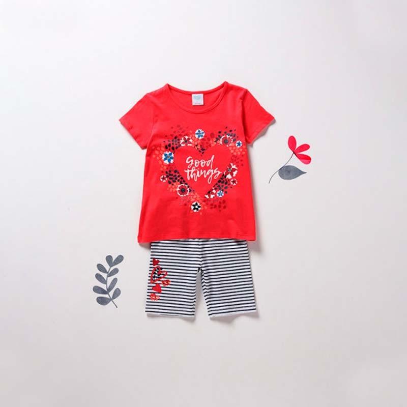 conjunto de camiseta y short niña boboli para primavera verano rojo