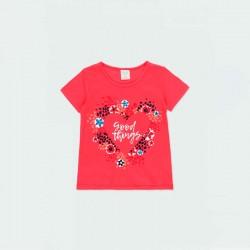 camiseta niña boboli roja a juego con short marino
