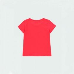 camiseta niña boboli roja a juego con short marino por detrás