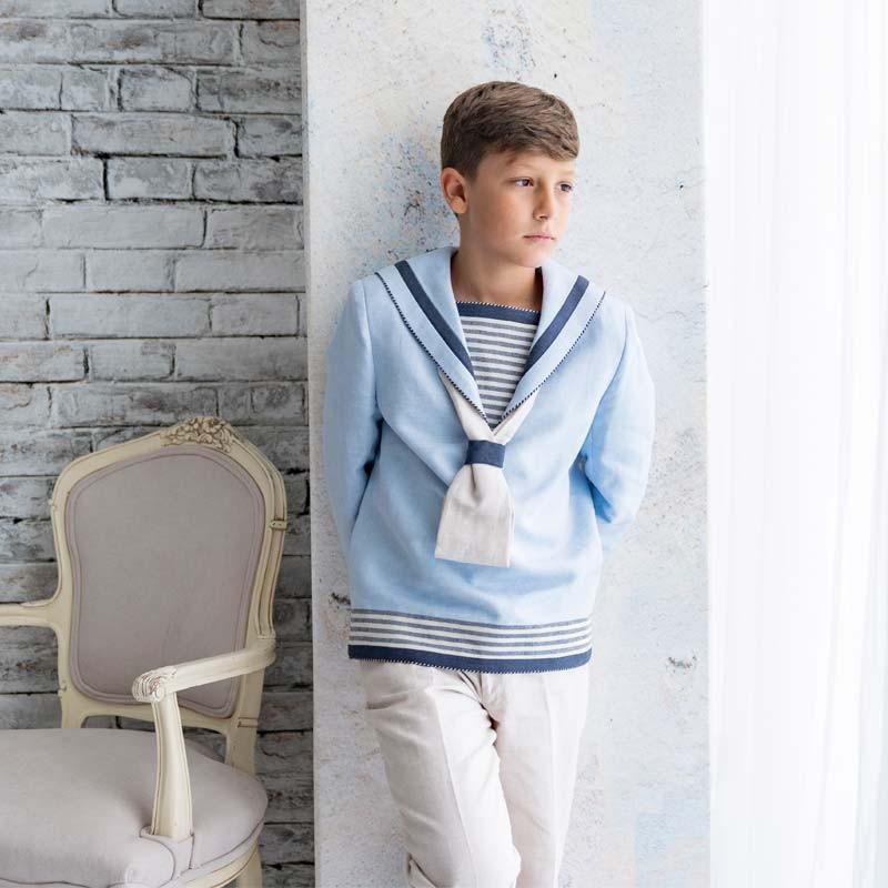 traje comunión de niño marinero celeste
